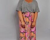 Vintage Maxi Skirt // Plus Size Vintage Skirt // 1970's Psychedelic Maxi Skirt