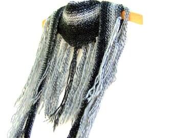 Knit Boho Fringe Scarf - Triangle Neckwarmer - Long Scarf - Fringe Neck Wrap - Charcoal And Gray
