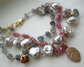 Multi Strand Charm Bracelet-Gemstone and Rose Gold Vermeil bracelet