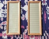 Vintage 1950s 60s Set of 2 Matching Long Rectangle Framed Mirrors | 13 x 5 | Wood Frame Mirror Set Wall Shabby Chic| vtg DECOR | FOUND by LB