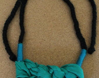 Wrapped and Crocheted Adjustable Necklace