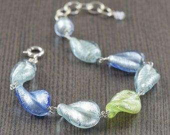 Valentine's Day gift Murano glass bracelet twisted leaf bracelet blue glass bracelet green glass bracelet venetian glass bracelet