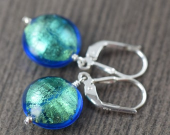 Turquoise earrings Venetian Murano glass earrings in Blue earrings blue glass earrings