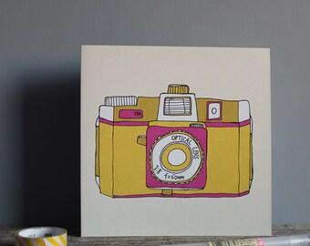 Holga Camera Yellow Recycled Greetings Card