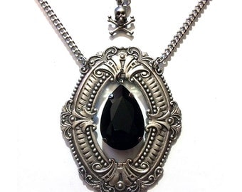 HUGE Gothic Necklace with Black Teardrop & Skull Charm // Victorian Necklace // Gothic Jewelry // Victorian Jewelry // Wiccan Jewelry