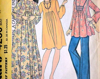 Vintage 70's Maternity Sewing Pattern, McCall's 4280, Dress or Top and Pants, Size 12, 34 Bust, Boho Hippie