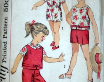 Sewing Pattern, Vintage 60's Simplicity 3027 Child's Top, Pants and Blouse In Two Lengths, Size 4, Breast 23, Mod