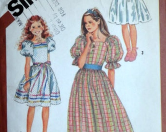 Vintage 1980's Simplicity 6041 Sewing Pattern, Girls' Pullover Dress In Two Lengths, Size 12, 30 Breast