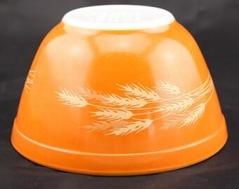 Autumn Harvest Pyrex Mixing Bowl - Orange with Wheat - Small 750 mL #401