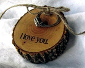 Wood Slice RING BEARER PILLOW Rustic Will you Marry Me Engagement Ring Holder Wood Wedding Ring Holder i do me too Wood 5th Anniversary Gift