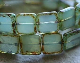 sale .. WONDROUS SQUARES .. 10 Premium Picasso Czech Glass Square Beads 10mm (4449-10)