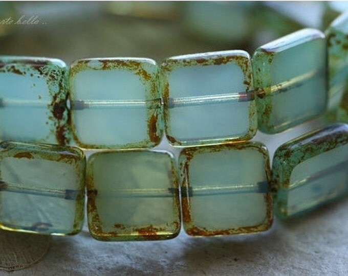 last ones .. WONDROUS SQUARES .. 10 Premium Picasso Czech Glass Square Beads 10mm (4449-10)