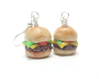Burger Earrings, Miniature Food Jewelry, Polymer Clay Food Jewelry