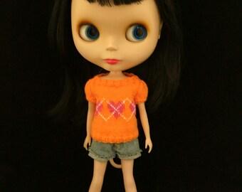 Argyle hearts sweater for Blythe - Orange