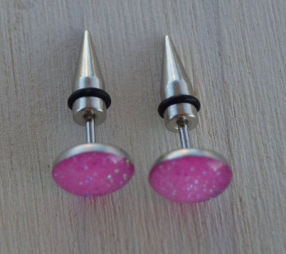 Fake Cotton Candy: Pink Glitter Fake Ear Plugs Tapers Spikes Earrings Ear