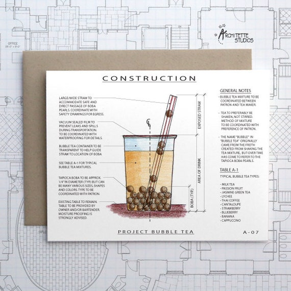 Project Bubble Tea - Blank Architecture Construction Card