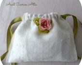 Bridal Bag Lined Wedding Bag Drawstring Bag Embroidered Linen Lingerie Bag Jewelry Bag  Baby Gift Bag Shower