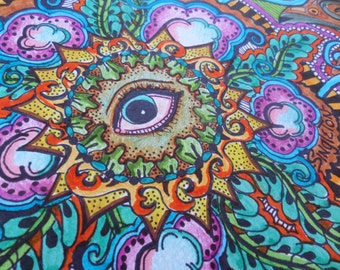 All Seeing Eye, Original Art, Mandala Art, Freestyle mandala, freehand mandala, singleton art, hippie art, evil eye, trippy art,