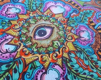 All Seeing Eye, Original Art, Mandala Art, Freestyle mandala, freehand mandala, singleton art, hippie art, evil eye, trippy art,