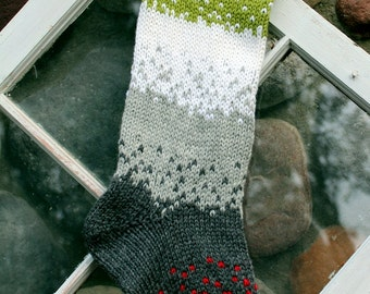 Hand Knit Christmas Stocking -Gray Green Red - Ready to ship!