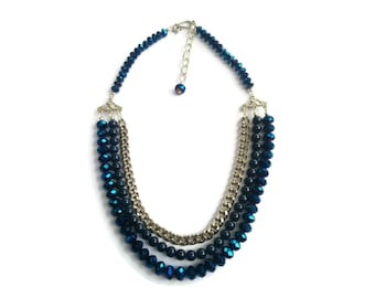 Persephone – Blue Statement Necklace - Beaded Gemstone 3-Strand Collar - Agate/Crystal/Chain - Silver/Blue – Mishimon Designs