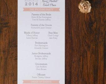 Modern Wedding Program - Shimmery White Wedding Program - Traditional, Classic, Modern - Custom - Jamie and Ryan