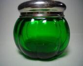 Emerald green vanity jar Glass powder jar Vintage green glass jar with lid