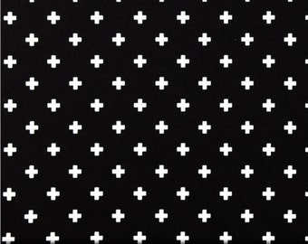 Swiss Cross Black and White  Cotton Fabric for Premier Prints - 1 yard
