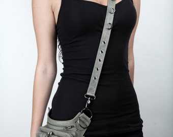 SHARK BITE Leather Holster Utility Shoulder and Hip Bag in Gray