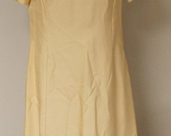 Vintage 60s matching dress and coat, gold with gold braid trim short sleeve M/L
