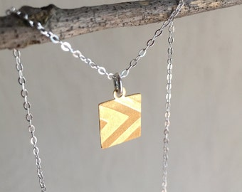 Stamped Brass Geometric Necklace/ Gift for Mom/ Customizable Brass Stamped Necklace/ Stamped Brass Geometric Pendant