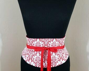 Red and White Damask Corset Waist Cincher Belt - Any Size Underbust Sash Obi