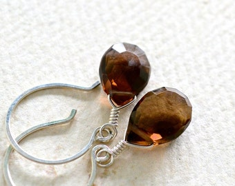 Silt Earrings - smokey quartz brown gemstone drop earrings, brown smokey quartz earrings, handmade smokey quartz earrings