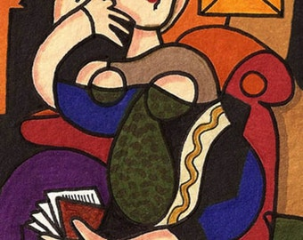 Woman in Chair Picasso Impression by David Venne mono deluxe Needlepoint Canvas
