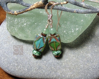 Unique Gorgeous Green Czech Glass Dangle Earrings, Womens Dangle Earrings, Gemstone Earrings, Sterling Silver Earrings, Gift for Her