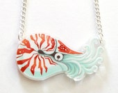 Chambered Nautilus clear acrylic charm necklace