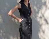 SALE - Linen Button-down Dress - 'Set Adrift' dress in Noir