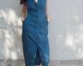 Linen Button-down Dress - 'Set Adrift' dress in Teal