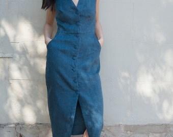 SALE - Linen Button-down Dress - 'Set Adrift' dress in Teal