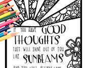 Good Thoughts Beach Quote - Digital Download Beach Life Quote - A Colorful World Suf & Sun by Alexine and Lori Goldwag - Adult Coloring Book