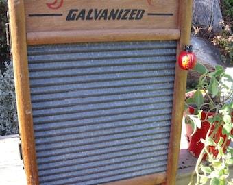"WASHBOARD CABINET-REcycled""2/1 Galvanized Washboard No. 25""-into a WALL Cabinet-Carolina Washboard Co.-GreaT MeDicine CaBiNeT/Spice Cupboard"