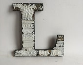"""Tin Ceiling Wrapped 8"""" Patchwork Reclaimed Metal White Letter """"L"""" Mosaic Wall Hanging 207-16"""