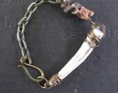 Naturally Shed Deer Antler Tip with African Snake Vertebrae - Assemblage Bracelet
