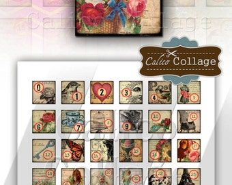 Numbers - Digital Collage Sheet - 1x1 Inchies Tile Size 985