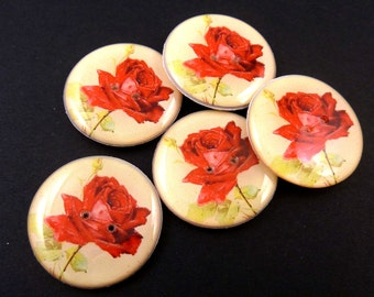 "5 LARGE SIZE  Vintage Rose Sewing Buttons. Sewing Buttons. 1"" or 25 mm.  Red Flower Buttons. Handmade By Me.  Washer and Dryer Safe."