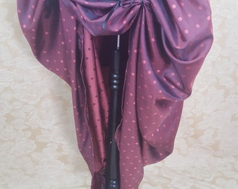 Dark Pink Spot Full Length Bustle Skirt-One Size Fits All
