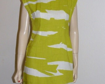 Ivan Frederics Chartreuse Linen Sheath Size M