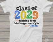 Back to school shirt - kindergarten class of 2029 or any year colorful personalized school Tshirt