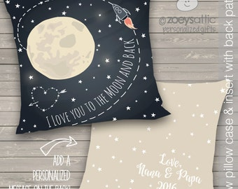 i love you to the moon and back personalized two sided throw pillow - moon and back pillow