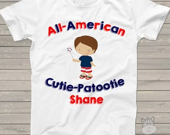 All American cutie boys personalized Tshirt - perfect for July 4th festivities